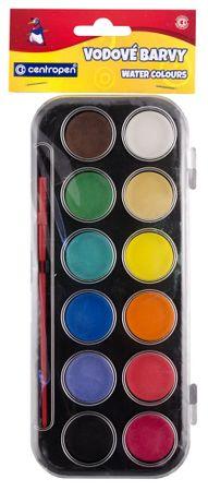 Centropen Farby vodové 12 odtieňov - 30 mm, čierny farebník,