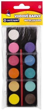 Centropen Farby vodové 12 odtieňov - 22 mm, čierny farebník,