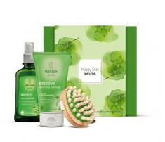Weleda poklon set Happy Skin (piling + brezino ulje +drvena četka za masažu)