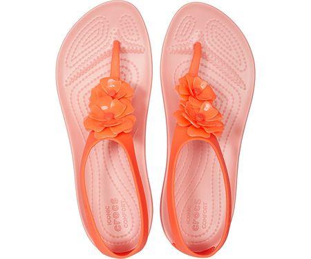 Crocs Sandały damskie Serena Embellish Flip W 205600 6PT Bright Coral Melon (rozmiar 36 37)
