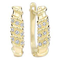 Brilio Dámské zlaté náušnice s krystaly 239 001 00980 - 2,10 g zlato žluté 585/1000
