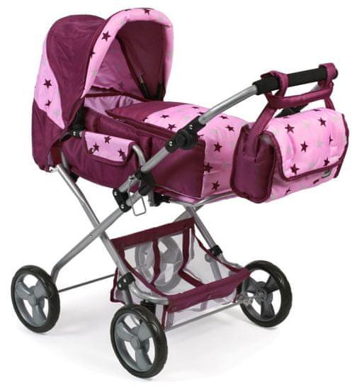 Bayer Chic Kočárek pro panenky BAMBINA růžovo-vínová hvězdička