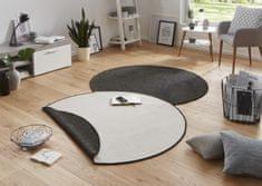 Bougari Kusový koberec Twin-Wendeteppiche 103096 schwarz creme kruh