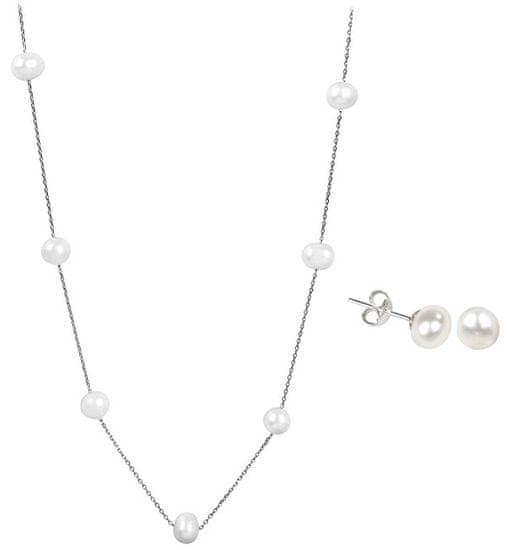 JwL Luxury Pearls Zvýhodnená perlová súprava šperkov JL0026 a JL0355 striebro 925/1000