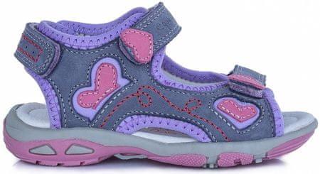 D-D-step dekliški sandali s srčki, 25, vijolični