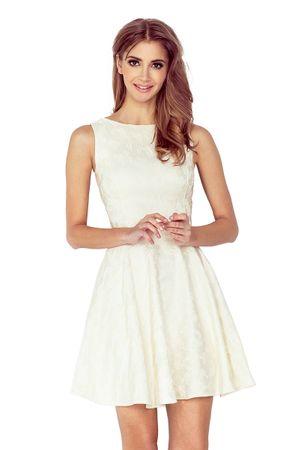 Numoco Šaty s kolovou sukní a lodičkovým výstřihem ecru, velikost L.