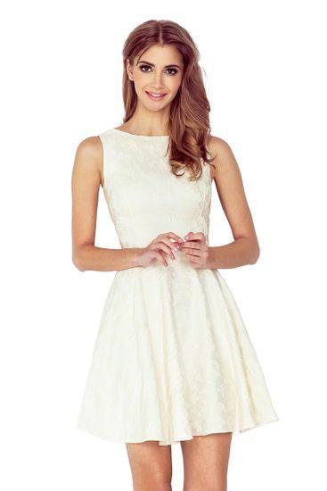 Numoco Šaty s kolovou sukní a lodičkovým výstřihem ecru, velikost XL.