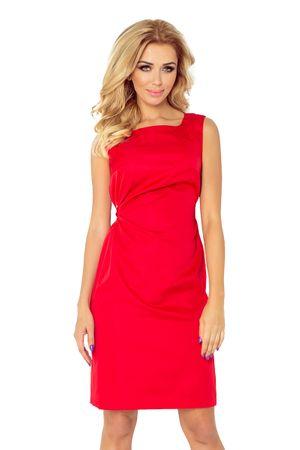 Numoco Červené saténové šaty s mašlí, velikost XL.
