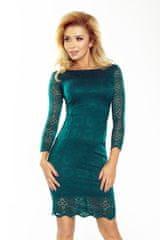 Numoco Krajkové šaty s dekorativní výzdobou lahvově zelené