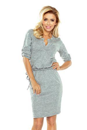 Numoco Úpletové šaty s límečkem - šedý melanž, velikost M.