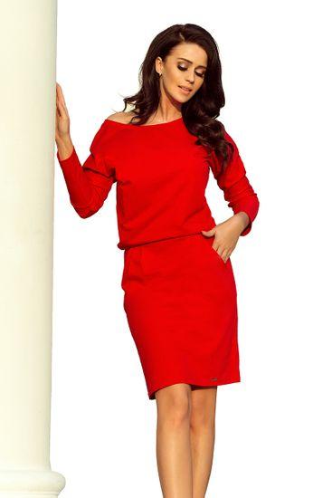 Numoco Dámské šaty 189-4 + Ponožky Sophia 2pack visone, červená, S