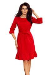 Numoco Červené šaty s volánky a páskem