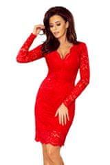 Numoco Červené krajkové šaty s dlouhými rukávy a výstřihem