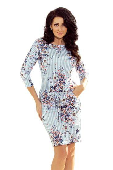 Numoco Sportovní pruhované šaty s květy, velikost L