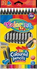 Pastelky trojhranné Colorino JUMBO černé 12 ks + ořezávátko