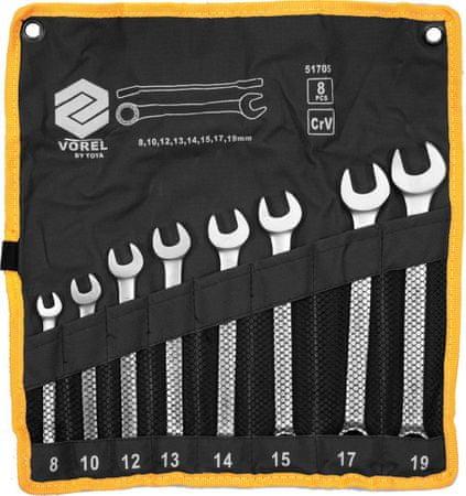 Vorel Kombinált csavarkulcs készlet 8 db 8-19 mm