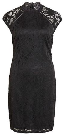 VILA Női ruha Stasia Caps Leeve Lace ruha-Ev Black (méret S)