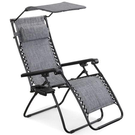 VonHaus naslonjač Zero Gravity sa suncobranom i stolićem, sivi