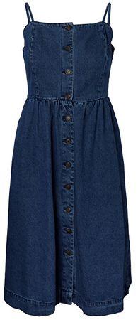 Vero Moda Dámske šaty Flavia Strap Button Midi Dress Medium Blue Denim (Veľkosť L)