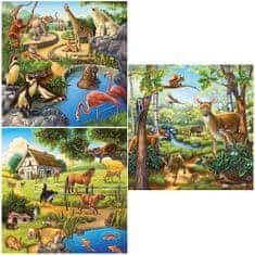 Ravensburger Zvieratá na vidieku, v ZOO a v lese 49 dielikov