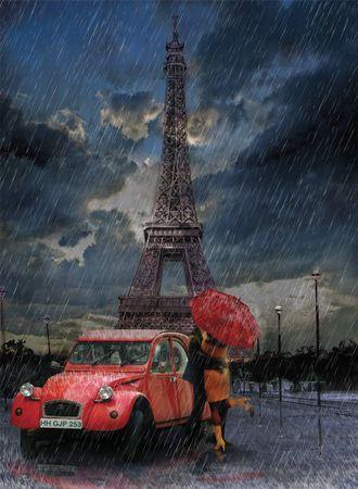 Art puzzle Puzzle 1000 db Eiffel, Rain and Love