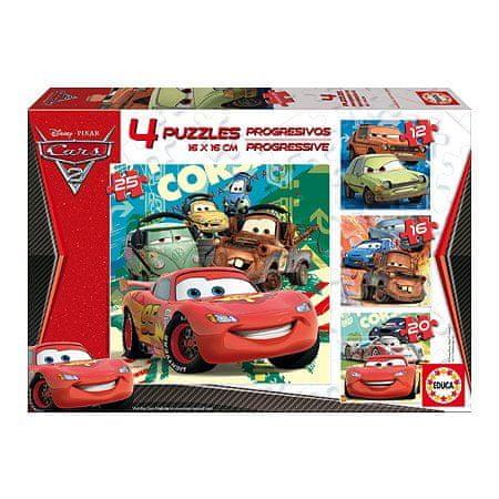 Educa 4 Progressive Jigsaw Puzzles - 12 to 25 dílků - Disney Cars 2