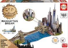 Educa Puzzle 160 dílků 3D Wooden Jigsaw Puzzle - Brooklyn Bridge, Manhattan