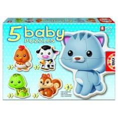 Educa Jigsaw Puzzles - 3 to 5 dílků - 5 Baby Puzzles - Animals