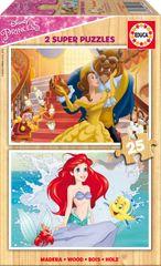Educa 2 Wooden Jigsaw Puzzles - Disney Princess