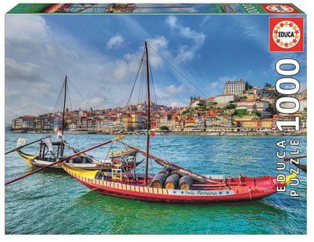Educa Puzzle 1000 dílků Barcos Rabelos, Porto, Portugal