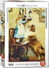 EuroGraphics Puzzle 1000 dílků Charles Burton Barber - Little Girl and her Sheltie