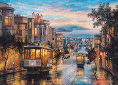 EuroGraphics Puzzle 1000 dílků Eugene Lushpin - San Francisco, Cable Car Heaven