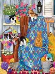 SunsOut Puzzle 1000 dílků Ashley Davis - Porch Kittens