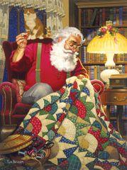 SunsOut Puzzle 1000 dílků Tom Newsom - Quilting Santa