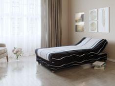 Nejlevnější nábytek Černo-bílo-šedá čalouněná postel NEJBY 90x198 cm