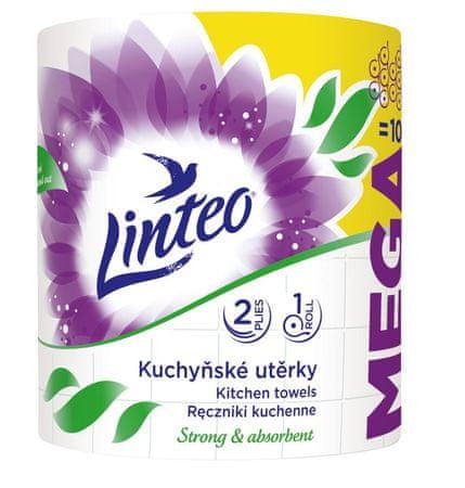 LINTEO Konyhai törlőkendő LINTEO MEGA - 2 rétegű - fehér - 1 tekercs