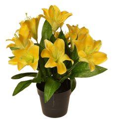 EverGreen Dekoratívna ľalia v kvetináči, výška 30 cm - žltá