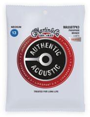 Martin Authentic Lifespan 2.0 92/8 Phosphor Bronze Medium - 3 Packs Kovové struny na akustickú gitaru