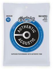 Martin Authentic SP 80/20 Bronze Medium - 3 Packs Kovové struny na akustickú gitaru