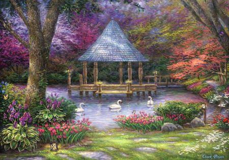 Grafika Puzzle 1000 db Chuck Pinson - Swan Pond