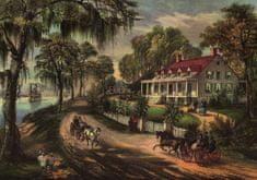 Grafika Puzzle 1000 db Affiche Currier & Ives : Maison sur le Mississippi