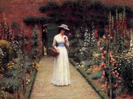 Grafika Puzzle 2000 dielikov Edmund Blair Leighton: Lady in a Garden