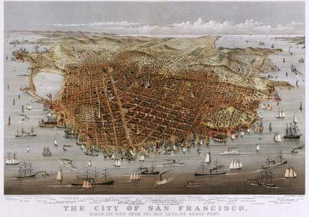 Grafika Puzzle 1000 db Affiche Currier & Ives : La Ville de San Francisco