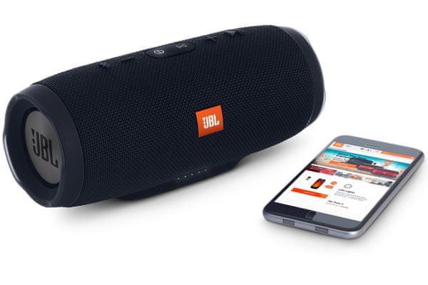 přensoný reproduktor jbl chargé 3 stealth edition Bluetooth až 3 zdroje hudby dokonale hluboké basy jbl connect funkce