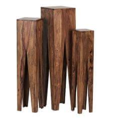 Bruxxi Odkladacie stolíky Kada, 100 cm, súprava 3ks, masív Sheesham