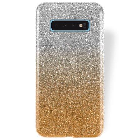 Silikonski ovitek z bleščicami Bling za Samsung Galaxy S10 G973, zlat
