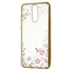 Silikonski ovitek z rožicami za Samsung Galaxy S10 G973, zlat