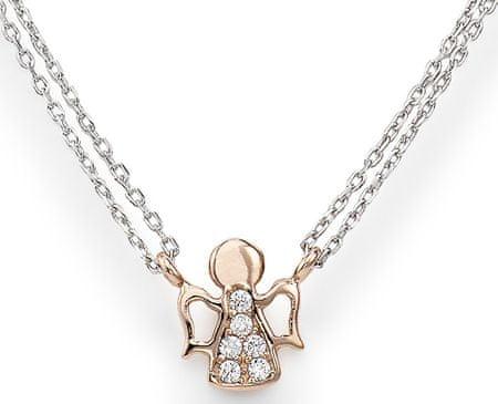 88e967e16 Růžově pozlacený stříbrný náhrdelník se zirkony Angels CL2ABR stříbro 925/1000  ...