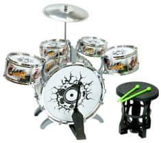 Mikro hračky Sada bicích - 5ks bubnů, činel, paličky a stolička