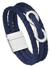 Troli Temno modra usnjena zapestnica Infinity